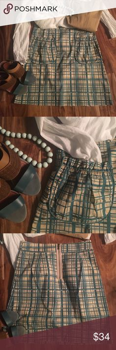 A N T H R O P O L O G I E • girls from savoy Teal and cream cotton poplin skirt with burnished brass rear zipper. Cute pockets with piping, flat front. Very cool abdtrsct windowpane pattern! Worn once.    ✨NWOT✨ Anthropologie Skirts Mini