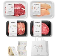 CORELLA — The Dieline - Branding & Packaging. - a grouped images picture - Pin Them All Food Branding, Food Packaging Design, Brand Packaging, Cafe Branding, Packaging Ideas, Frozen Food Brands, Protein Shop, Meat Store, Spices Packaging