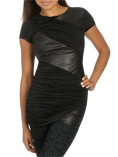 Pieced Ruched Leatherette Tunic from ArdenB.com
