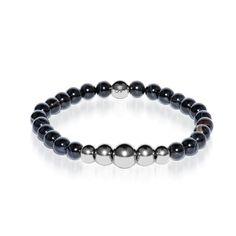 Ambition   Silver Aura Black Line Agate Bracelet