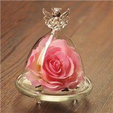 Wonderful Desktop Decoration Angel Glass Cover Rose Flower Sets
