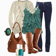 White Cardigan, turquoise cami, brown boots, jeans
