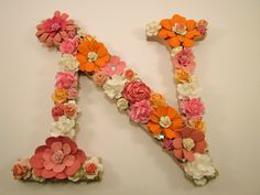 Custom name letter - Personalized letter N - Floral letter - Flower letter - Letter N - Photography prop - Nursery wall decor - Girls room by PreciousGiftsbyDiane on Etsy