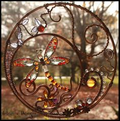 Gemstone and Crystal Dragonfly Wire Wrapped Suncatcher with Mixed Metals | Intrinsic Designs | madeit.com.au