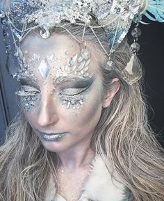 Ice Queen Makeup from Instagram Geoartistry - Gypsy Shrine face jewels and glitter. Handmade headpiece. Fancy dress costume, Halloween or festivals!