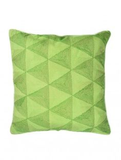 Green Tribal Kantha Cotton Cushion Cover - 18in x 18in. $50