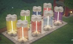 Multi Coloured Lamp Designs - Everything About Minecraft Minecraft Mods, Plans Minecraft, Easy Minecraft Houses, Amazing Minecraft, Minecraft Decorations, Minecraft House Designs, Minecraft Tutorial, Minecraft Blueprints, Minecraft Creations