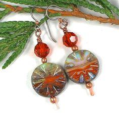 #Copper #Earrings #Handmade #Swarovski Blue Picasso Czech #Glass   | #SolanaKaiDesigns - Jewelry on ArtFire @SolanaKaiDesigns