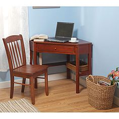 Superbe @Overstock   Upgrade The Look Of Your Home Office Or Den With This  Two Piece Wood Desk And Chair Set. The Beautiful Desk Features A Slide Out  Drawer And ...