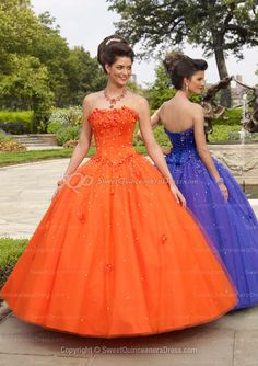 BallGown Strapless Tulle Floor-length Orange Lace-up Quinceanera Dress
