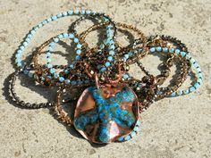 Abissi   Handmade Crystal and copper necklace  http://www.mimietoile.it/prodotto/abissi/