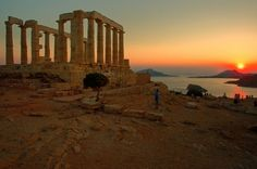 The Ancient Temple of Poseidon . Cape Sounion , located 69 kilometers of Athens , Greece . The site is a popular day-excursion for tourists from Athens Santorini Tours, Mykonos, Attica Greece, Athens Greece, Ancient Ruins, Ancient Greece, Archaeological Site, Greek Islands, Architecture