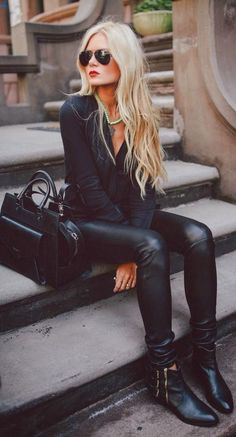 black leather trousers, black silk wrap top