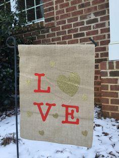 Valentine's garden flag, Burlap flag, hearts, Love by ASimplySweetTreat on Etsy https://www.etsy.com/listing/504168789/valentines-garden-flag-burlap-flag