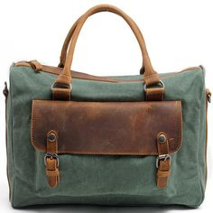 Vintage Square Briefcase Laptop Zipper Handbag Thick Canvas Splicing Leather Shoulder Bag
