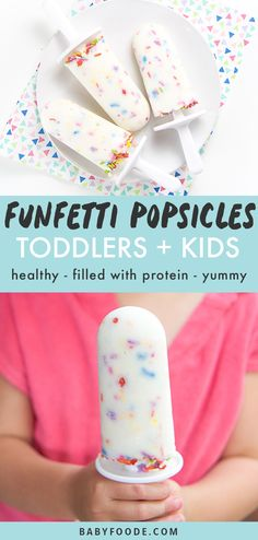 These Healthy Funfetti Popsicles for Kids Toddler are a perfect frozen treat on a hot summer day. Made with greek yogurt honey and dye-free sprinkles these protein-filled popsicles can be served for breakfast a cold snack or a deliciously frozen dessert. Toddler Snacks, Healthy Snacks For Kids, Dessert Healthy, Healthy Drinks, Healthy Food, Healthy Sweets, Healthy Dinners, Summer Snacks, Summer Treats