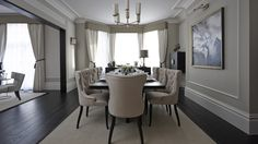 Boscolo | London - applied mouldings in dining room; baseboard profile and crown