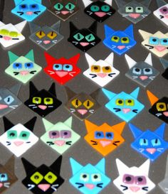 Glass Cat Magnets@Sue Rath  what if these were on stakes- you could have cats on the prowl in your yard-so cool!