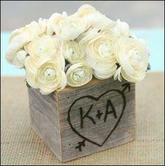 Wood Planter Vase Wedding Centerpiece Shabby Chic Rustic 1