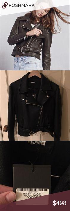 Reformation Trident Leather Jacket Never worn!!! Black leather jacket / zip pockets / zip cuffs / buckle waist / snug fit but not shrunken -- as seen on fashion model Tilda Lindstam Reformation Jackets & Coats