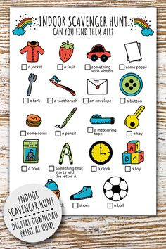 Get your kids or class to explore and discover the world around them with this printable indoor scavenger hunt for kids! This colourful indoor treasure hunt, search and find game is perfect to keep your children busy during holidays, to keep them busy during rainy days, as a school activity, or a fun indoor birthday party game adventure. in house scavenger hunt - scavenger hunt ideas - scavenger hunt games - inside scavenger hunt - scavenger hunt preschool -