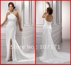 store product modern design lace casual beach spanish style front slit wedding dress