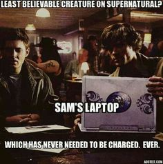 It's logged onto Hell's wifi through Sam's demon blood. I think we can safely assume that any laptop connected to Hell's wifi will also automatically have an indefinite battery life.