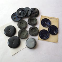 Vintage Large Buttons Dark Blue Gray Green Black Bakelite 14 Big Buttons 1940s Clothing Knitting Sewing Crafts Notions Pillows Upholstery by stonebridgeworks on Etsy