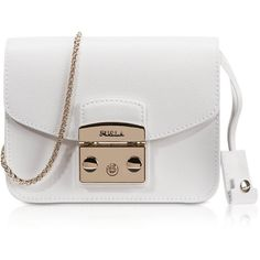 Furla Handbags Metropolis Chalk Leather Mini Crossbody Bag (10,420 THB) ❤ liked on Polyvore featuring bags, handbags, shoulder bags, crossbody purse, leather handbags, genuine leather shoulder bag, mini cross body purse and leather purse