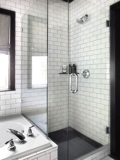 Timeless Black and White Master Bathroom Makeover : Page 02 : Rooms : Home & Garden Television (black shower floor) White Subway Tile Bathroom, Subway Tile Showers, Subway Tiles, White Tiles, Wall Tiles, Brick Tiles, White Marble, Bad Inspiration, Bathroom Inspiration