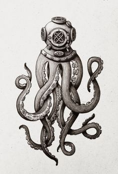 Octopus the Diver Art Print by Marija Tiurina