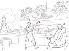 Elisha and the blind army colouring pages 2 Kings 6:8-23