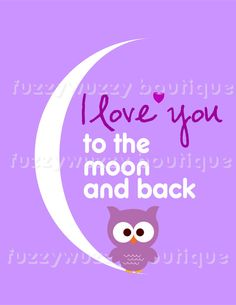 Owl  Purple I Love you to the Moon and Back by FuzzyWuzzyBoutique,