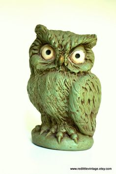 1960s Green Vintage Piggy Bank Owl made by by RedLittleVintage