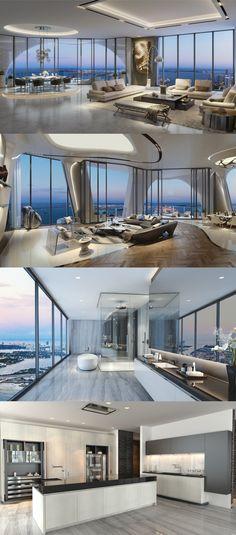 New apartment penthouse inspiration ideas - Beste Just Luxus Dream Home Design, Modern House Design, Home Interior Design, Kitchen Interior, Penthouse Apartment, Dream Apartment, Apartment Ideas, Luxury Penthouse, Luxury Apartments