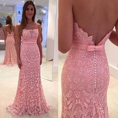 Elegant Strapless Pink Mermaid Long Pink Lace Prom Dress Evening Dress