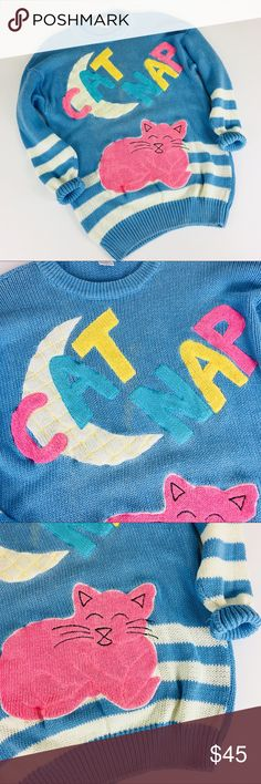 Vintage 80s Oversized Cat Nap Theme Sweater Vintage Cat  Sweater. Cotton & Ramie Blend. Oversized fit, tunic length. Generally good condition for being 30+ years old  It does have some discoloration as shown. Vintage Sweaters