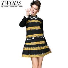 S- 5xl Lace Turn Down Collar Long Sleeve Dress Autumn Winter Drop Waist Striped Short Mini Vestido Just look, that`s outstanding! http://www.artifashion.net/product/s-5xl-lace-turn-down-collar-long-sleeve-dress-autumn-winter-drop-waist-striped-short-mini-vestido/ #shop #beauty #Woman's fashion #Products