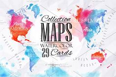 Watercolor world map by Anna on @creativemarket