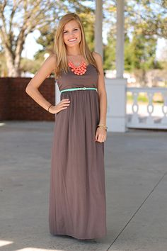 """This simple maxi will take you through many seasons! Thanks to the mocha color you can wear it now with a cardigan and carry it into the Spring and Summer:)) We added a belt and necklace for stylish detail!   Fits true to size. Kali is wearing the small.   From shoulder to hem:  Small - 53""""  Medium - 54""""  Large - 55"""""""