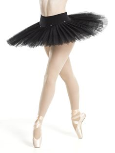 Black Professional Platter Tutu | Revolution Dancewear  Pleated tutu has six layers of black net and enclosed metal hoop over attached matte spandex trunks with black lace trim, hook and eye closure and pre-sewn buttons for attaching to an overlay skirt or dress.