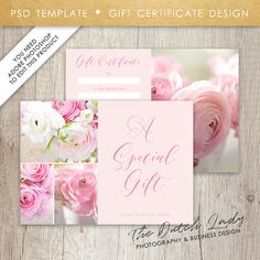 Gift Certificate Card Template  Design   Instant Download