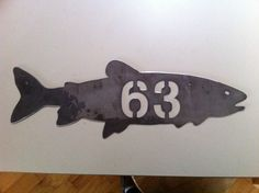 "Fish House numbers. Trout Salmon Address. 5"" tall x 15"" wide.  PRIORITY SHIPPING. $18.75, via Etsy."