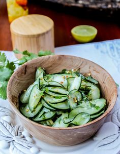 Cilantro-Lime Cucumber Salad - Could add tuna or shrimp for protein