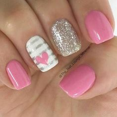 Nail art is a very popular trend these days and every woman you meet seems to have beautiful nails. It used to be that women would just go get a manicure or pedicure to get their nails trimmed and shaped with just a few coats of plain nail polish. Heart Nail Designs, Colorful Nail Designs, Gel Nail Designs, Simple Nail Designs, Nails Design, Nail Designs With Hearts, Nail Designs For Kids, Fingernail Designs, Stripe Nail Designs