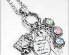 Personalized Birthstone Necklace - Birthstone Jewelry - Mother's Jewelry - Family Tree - Hand Stamped Charm
