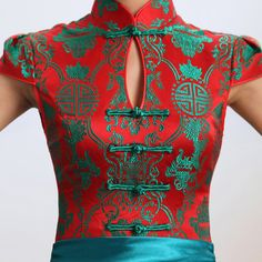 Green & red contrast color folk pattern brocade mandarin collar Chinese modern qipao cheongsam wedding dress | Red Chinese Dress