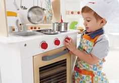 Click here for the Cook 'n Serve Wooden Play Kitchen by Hape: http://kiddokorner.com/cook-n-serve-kitchen.html This double sided kitchen with a pull out shelf is perfect for small spaces! $149.99