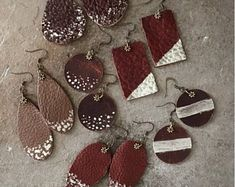 Leather Earrings-Hand Painted-Hand Cut-Boho Style-Eclectic-Brown-Chic-Handmade-mSs-Fashion Trend-Variety-One of a Kind