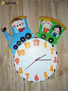 anjelicek / Hodiny - vláčik Clock, Decor, Watch, Decoration, Clocks, Decorating, Deco